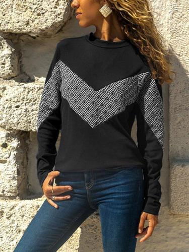 Round Neck Geometry Print Long Sleeve Sweatshirts