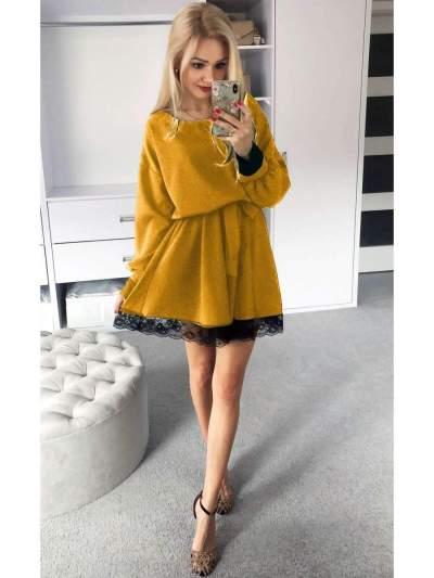Fashion Plush Lace Round neck Long sleeve Lacing Skater Dresses