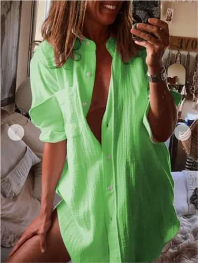 Casual Loose Pure Lapel Long sleeve Shirt Shift Dresses