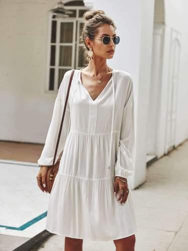 Fashion Pure V neck Lacing Long sleeve Shift Dresses