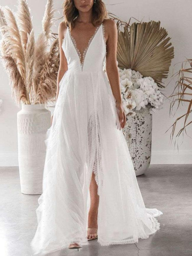 Sexy Lace Pure V neck Sleeveless Backless Vent Evening Dresses