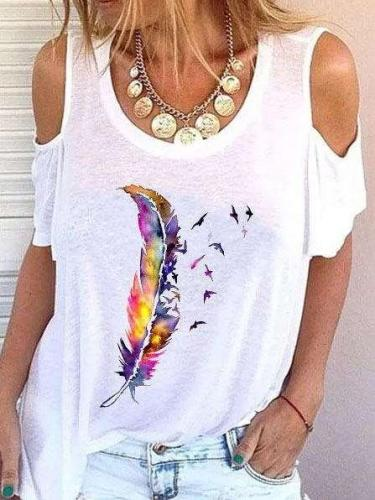 Fashion Print Round neck Off shoulder Short sleeve T-Shirts