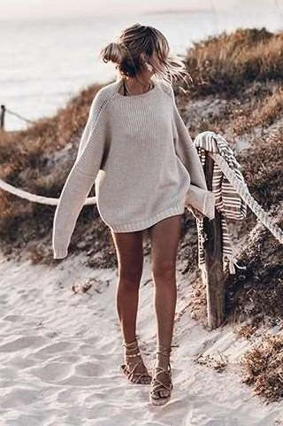 Loose Pure Long sleeve Round neck Sweaters