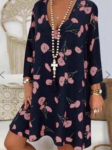 Printed v neck long sleeve shift dresses