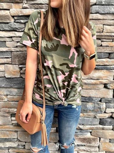 Short sleeved camouflage printed T-shirts
