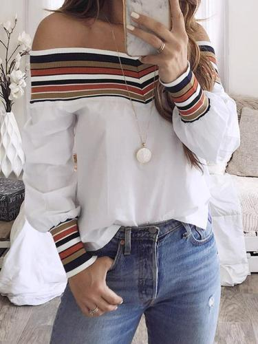 Open shoulder off shoulder women long sleeve t-shirts