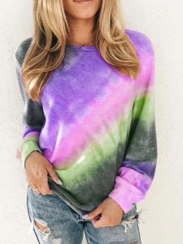 Women Printed round neck long sleeve casual sweatshirts