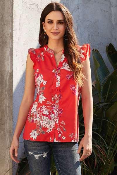 Fashion Casual Print V neck Sleeveless Blouses