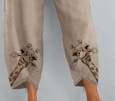 Fashion Casual Loose Print Women Pants