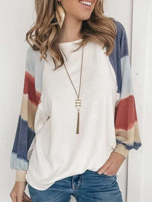 Fashion Print Gored Round neck Long sleeve Knit Sweatshirts