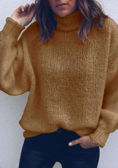 Casual Loose Pure Knit High collar Long sleeve Sweaters