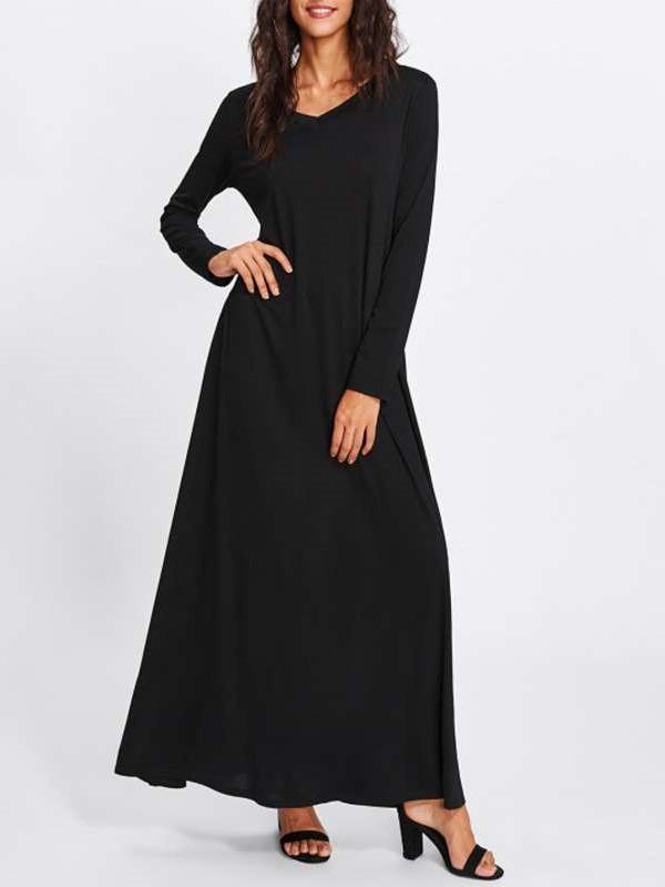 Fashion Pure V neck Long sleeve Maxi Dresses