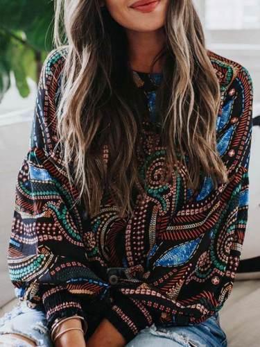 Women round neck chiffon printed long sleeve blouses