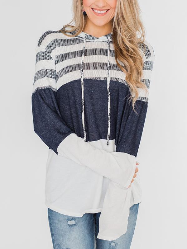 Loose long-sleeve cute stripe contrast hoodied