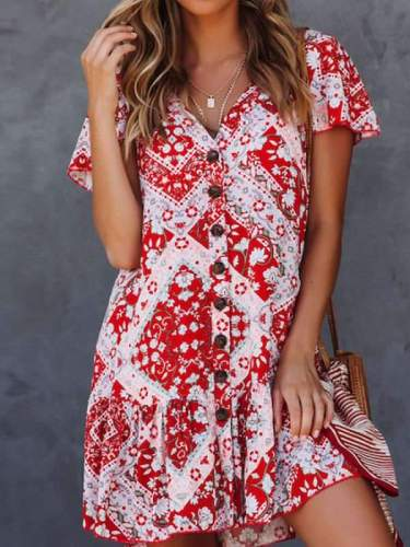 V Neck Single Breasted Printed Short Sleeve Casual Dresses