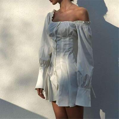 Fashion Pure Off shoulder Puff sleeve Shift Dresses