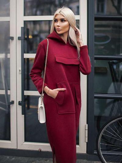 Casual Loose Pure Pocket Hoodies & Sweatshirts Maxi Dresses