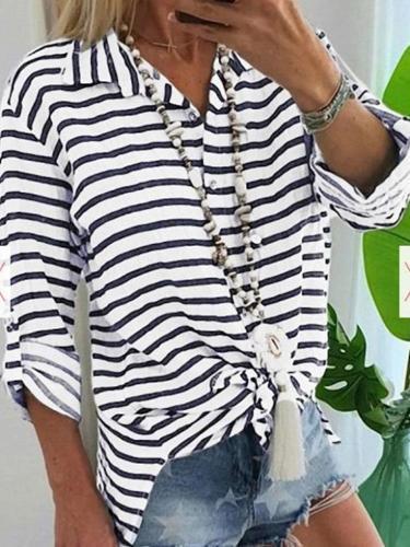 Loose Lapel Stripe Long sleeve T-Shirts