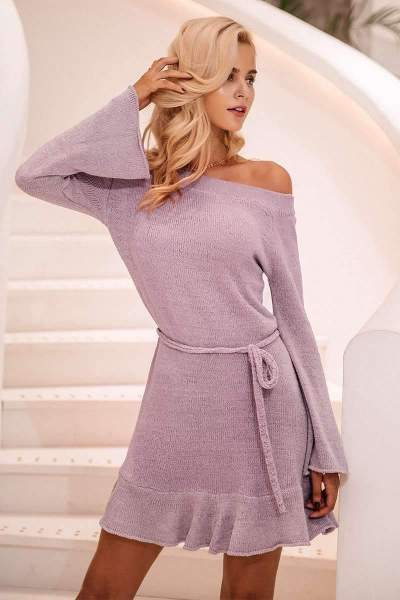 Pure Off shoulder Knit Lacing Skater Dresses