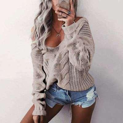 Fashion Pure Knit Long sleeve V neck Sweaters
