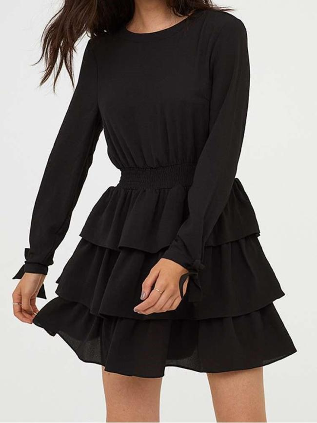 Sexy Pure Backless Falbala Long sleeve Skater Dresses