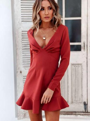 Sexy Pure V neck  Falbala Long sleeve Skater Dresses