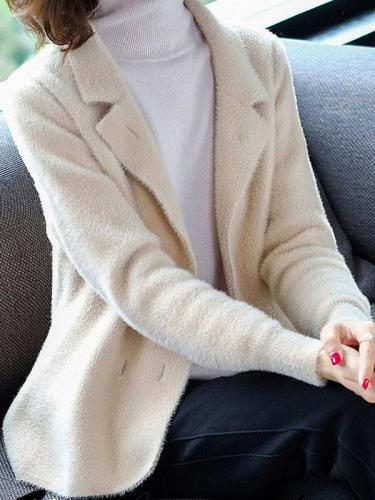 Turn-down Collar Imitated Mink Wool Woman Short Coats