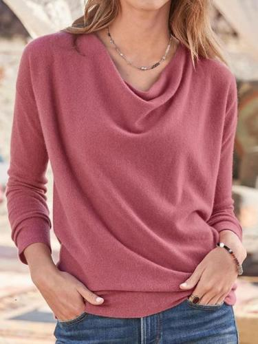 Daily plain Heaps Collar long sleeve sweaters