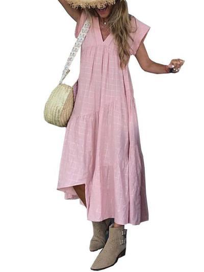 Loose v-neck irregular casual maxi chic dresses