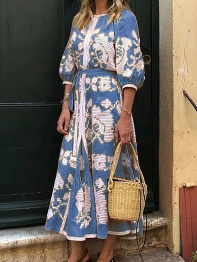 Printed round neck half sleeve women maxi dresses