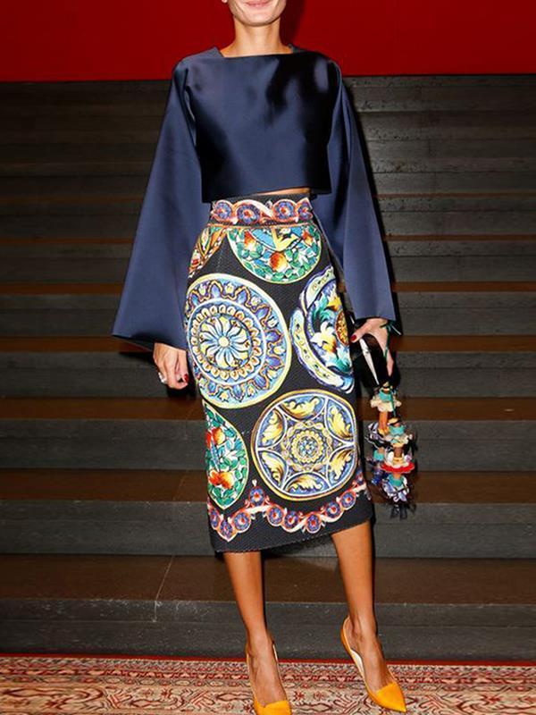 Elegant Printed long sleeve bodycon dresses
