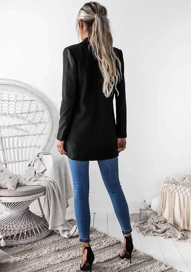 Fashion Pure Lapel Long sleeve Tee Blazer