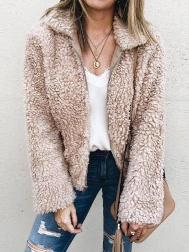 Stylish Lapel Fur Long Sleeve Coat