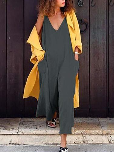 Casual Loose Pure V neck Pocket Jumpsuits