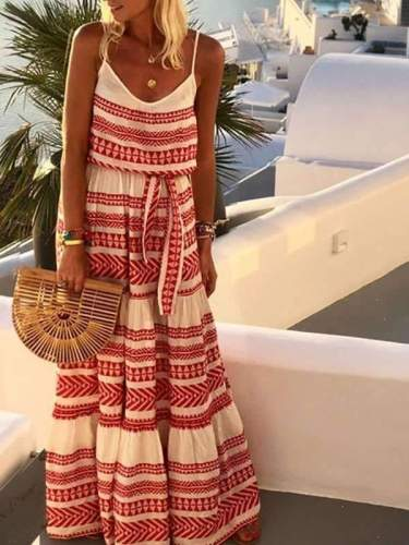 Bohemian Print Strapless Halter  Deep V-neck Vacation Dresses