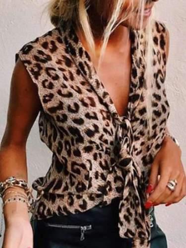 V neck Sleeveless Fashion Leopard Printed T-shirts