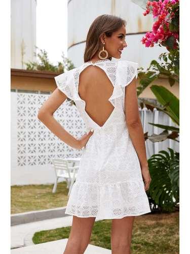 Fashion Pure Round neck Hollow out Falbala Shift Dresses
