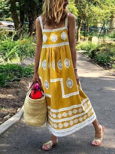 Casual Loose Print Vest Sleeveless Lace Maxi Dresses