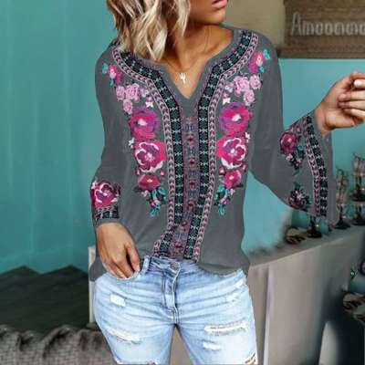 Fashion Loose Print V neck Long sleeve Blouses