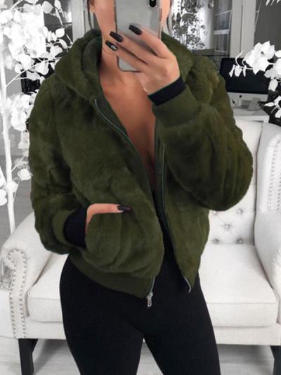 Fashion plain women long sleeve hoodied coats