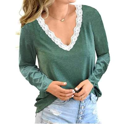 Fashion Casual Lace Gored V neck Long sleeve T-Shirts