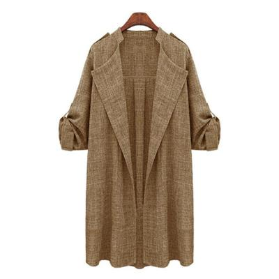 Autumn turn down neck long sleeve long trench coats
