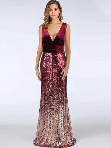Fashion Velvet V neck Gored Paillette Evening Dresses