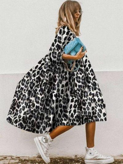 Casual Loose Round neck Half sleeve Maxi Dresses