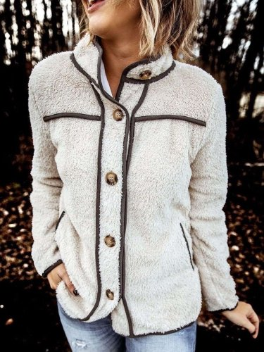 Fashion Plush Stand collar Long sleeve Warm Coats