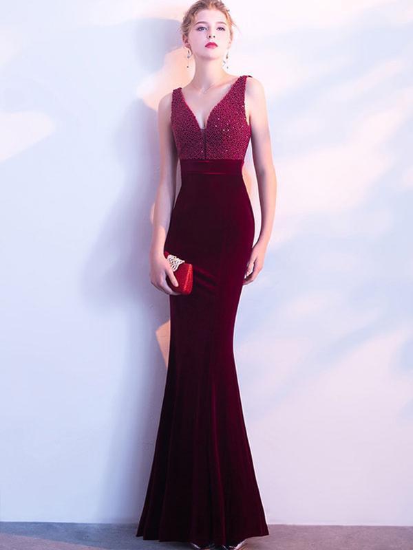 Velvet Sequined Contrast V-Neck Sleeveless Sheath Backless Dresses