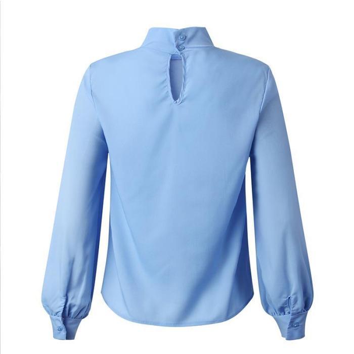 Fashion high collar chiffon long sleeve blouses