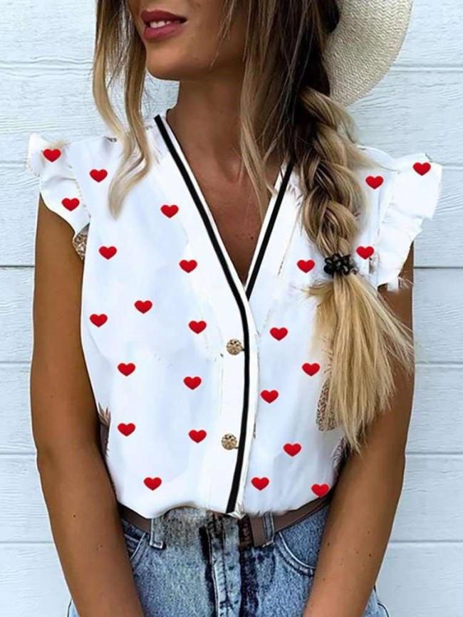 Fashion Print V neck Sleeveless Falbala Blouses