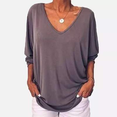 Fashion Casual Pure V neck Fastener T-Shirts