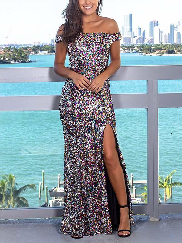 Sexy off shoulder sequined dress women evening dresses